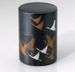 銅製茶筒 鶴寿