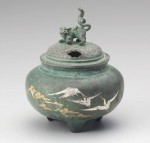 鉄鉢型獅子蓋香炉鶴彫金 銅製香炉 高岡銅器 竹中銅器 日本製