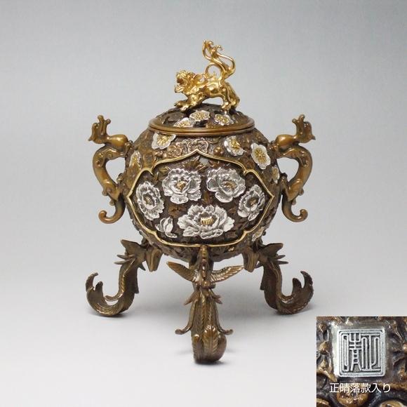 玉型吉祥花鳥香炉 日本製高岡銅器香炉