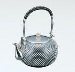 銀瓶 丸型総アラレ 美術工芸品 茶道具 茶器 高岡銅器 竹中銅器
