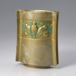 和宴 白 フクロウ 小鳥 花瓶 花器 インテリア 高岡銅器 竹中銅器