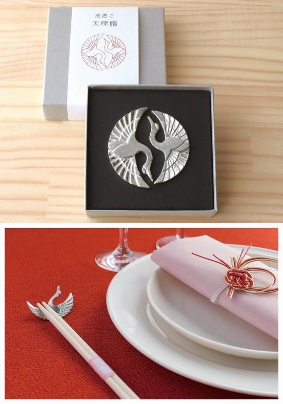 錫製箸置き 夫婦鶴