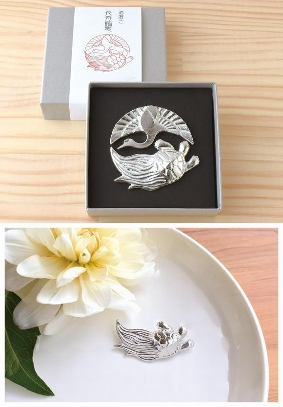 錫製箸置き 長寿鶴亀