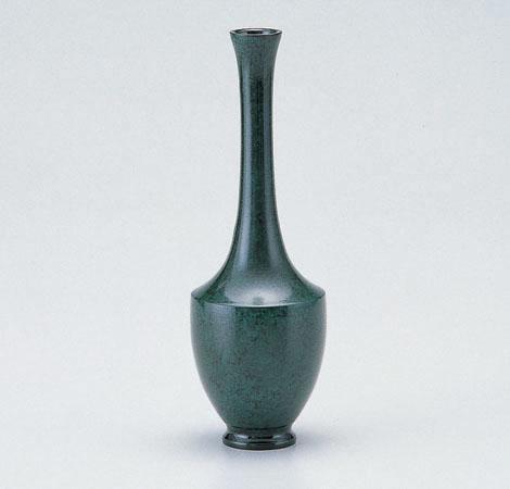 駒鶴首 花瓶 花器 ブロンズ製花瓶 伝統工芸 高岡銅器 竹中銅器