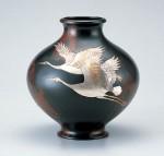 新寿形 花器 ブロンズ製花瓶 伝統工芸 高岡銅器 竹中銅器