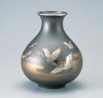 太ダルマ 花器 ブロンズ製花瓶 伝統工芸 高岡銅器 竹中銅器