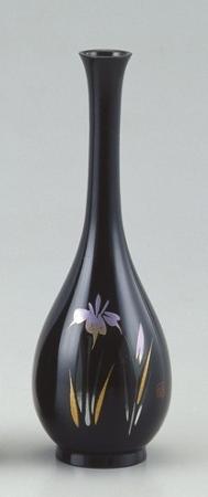 銅製花瓶 花器 ブロンズ製花瓶 蒔絵 アヤメ 菖蒲 伝統工芸 高岡銅器 竹中銅器