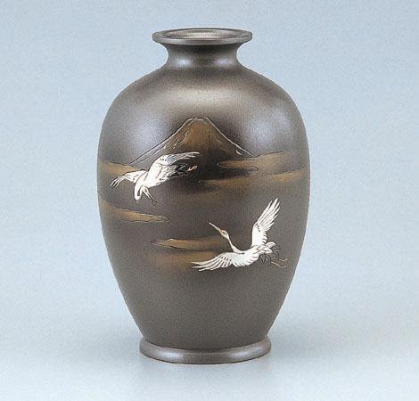 新夏目形 花器 ブロンズ製花瓶 伝統工芸 高岡銅器 竹中銅器