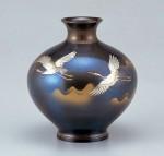 福丸形 花器 ブロンズ製花瓶 伝統工芸 高岡銅器 竹中銅器