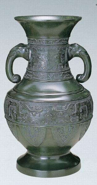 達磨型 花器 ブロンズ製花瓶 伝統工芸 高岡銅器 竹中銅器