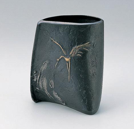 大森孝志 花器 ブロンズ製花瓶 伝統工芸 高岡銅器 竹中銅器