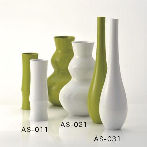 アジワイ花瓶 竹形花器 黄緑 萌黄色