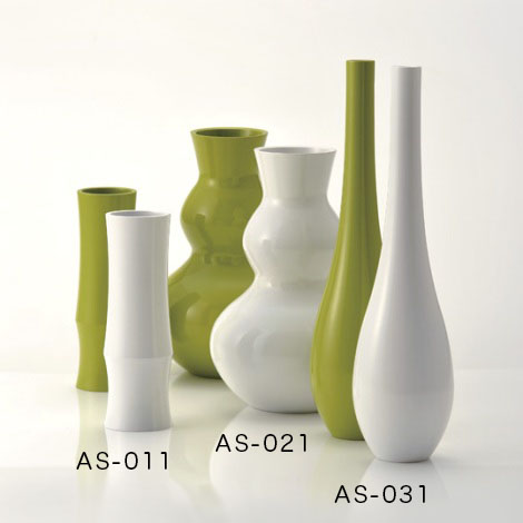 アジワイ花瓶 竹形花器 白 雪色