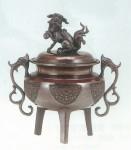 大和型獅子蓋香炉小徳色 銅製香炉 高岡銅器 竹中銅器 日本製