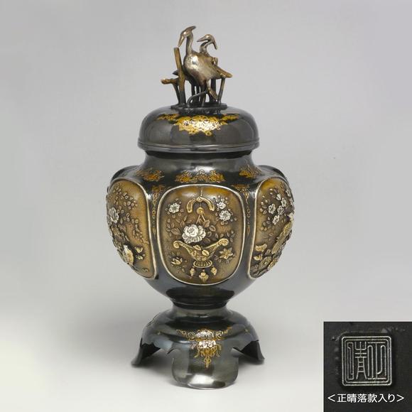 六面間取花鳥紋香炉 高岡銅器香炉 日本製香炉