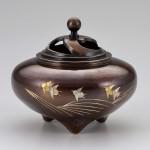 香炉 平型香炉 和 置物 インテリア 波千鳥 高岡銅器 竹中銅器